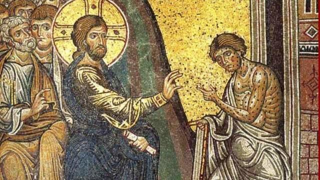 Mosaïque montrant Jésus guérir un lépreux, cathédrale de Monreale en Sicile, XIIe-XIIIe s.