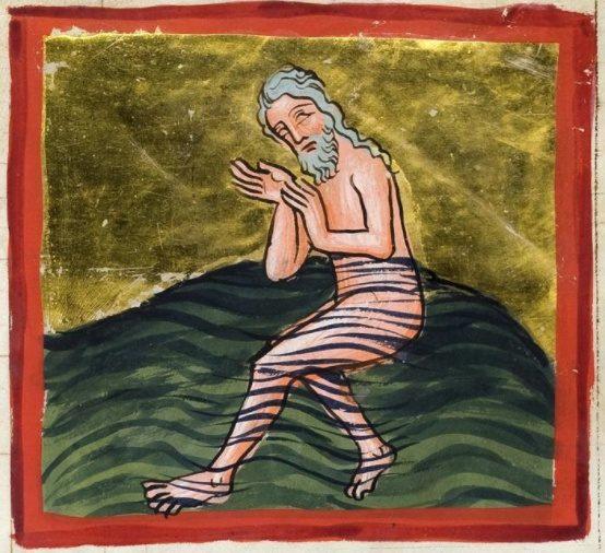 Naaman se baignant dans le Jourdain, enluminure allemande du 14e siècle
