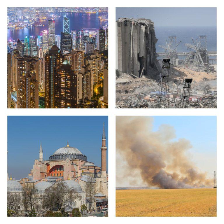 Quatre images : Hong Kong, le port de Beyrouth dévasté, la basilique Sainte-Sophie et un incendie