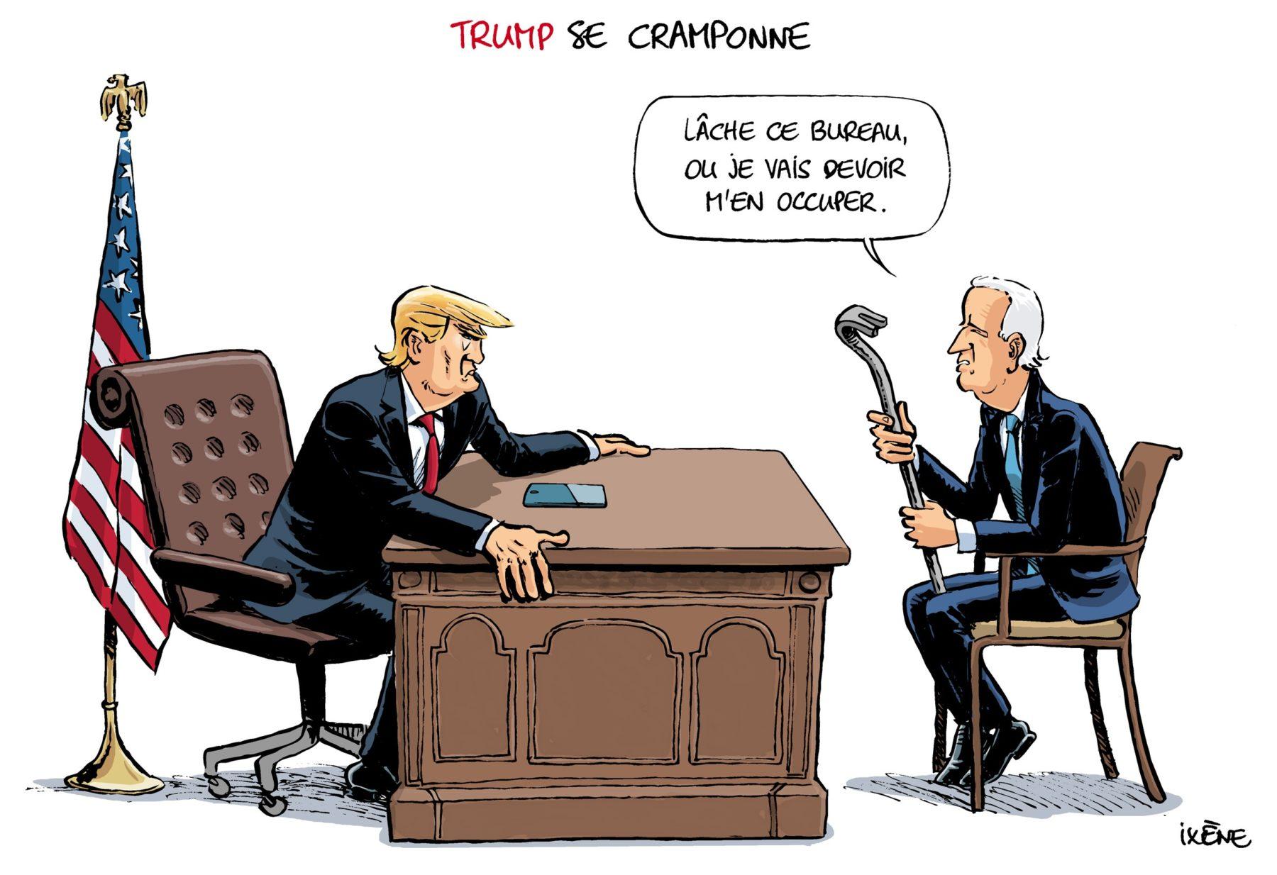 Dessin de presse représentant Donald Trump et Joe Biden dans le bureau ovale. Trump est cramponné à son bureau et Biden tient dans ma un pied de biche de dit : Lâche ce bureau, ou je vais devoir m'en occuper.