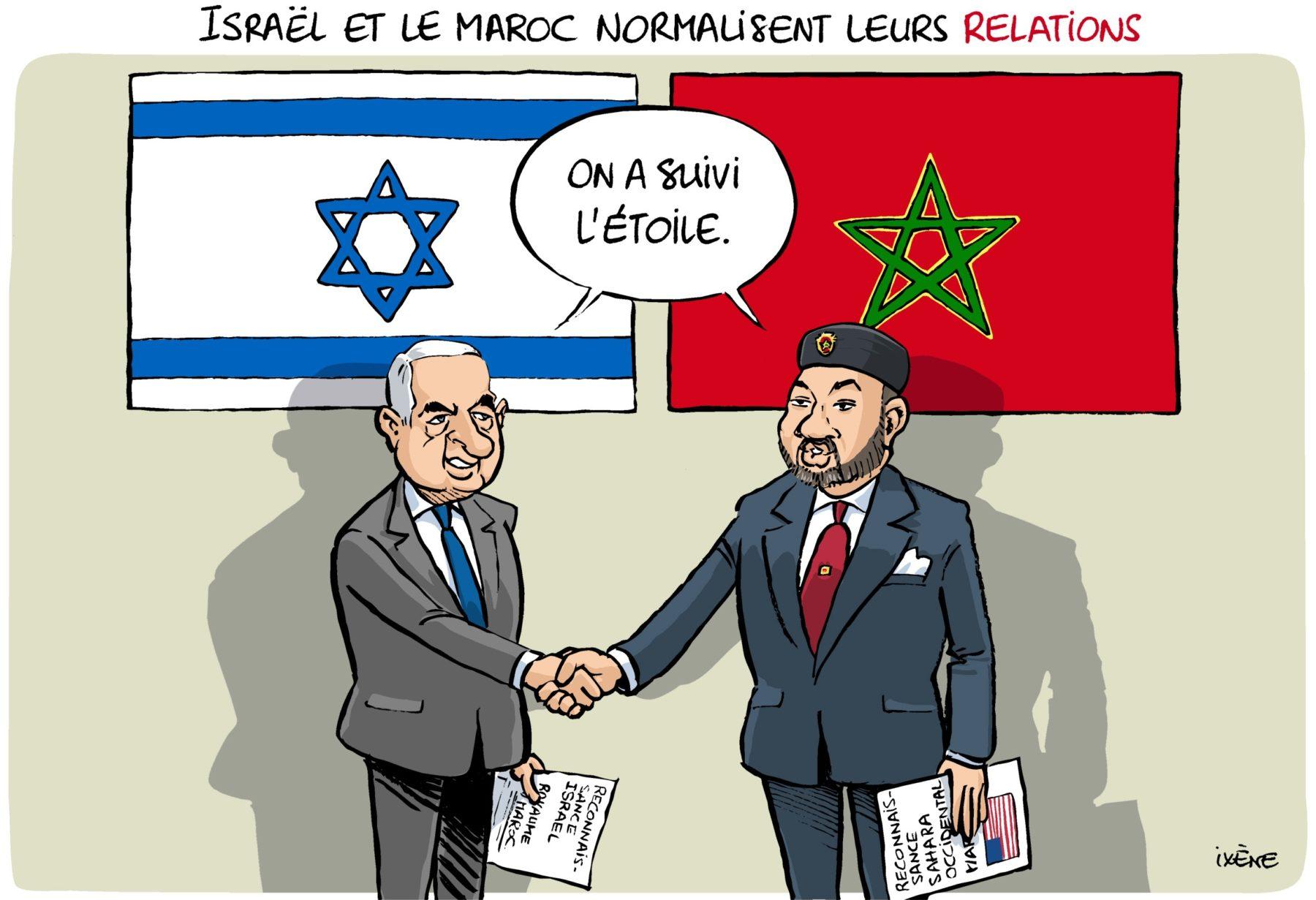 Dessin de presse : Le Premier ministre israélien et le roi du Maroc se serrent la main devant leurs drapeaux respectifs. 'On a suivi l'étoile', disent-ils.