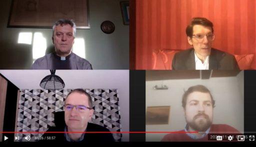 La table ronde «Aimer son prochain, comme Christ l'aime» animée par Pierre Jova(en bas à droite) avec (de haut en bas) Monseigneur Benoit de Sinety, Luc Maroni et Joël Prohin
