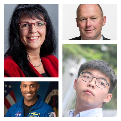 De gauche à droite et de haut en bas : Marianne Streiff-Feller, Andreas Aebi, Victor Glover et Joshua Wong
