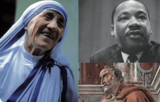 Sœur Teresa, Martin Luther King et Saint Augustin