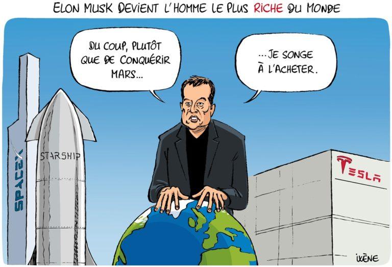 Elon Musk devient l'homme le plus riche du monde - dessin de presse