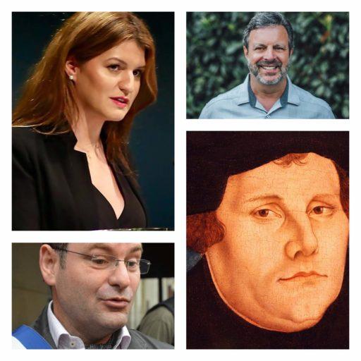 De gauche à droite et de haut en bas : Marlène Schiappa, Kris Vallotton, Franck Meyer et Martin Luther