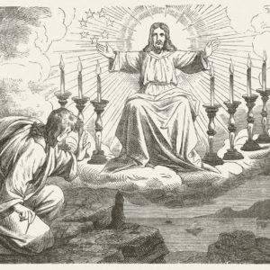 Jean sur l'île de Patmos, gravure publiée en 1877.