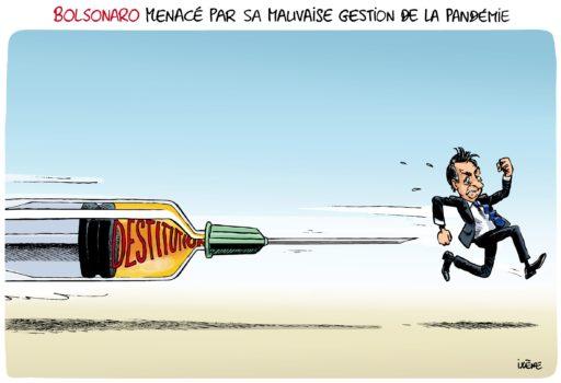Dessin de presse : Bolsonaro menacé par sa mauvaise gestion de la pandémie