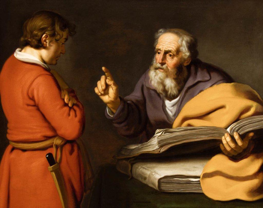 Élisée et Guéhazi c. 1630 Huile sur toile, 82 x 103 cm Collection privée La peinture illustre l'histoire de l'Ancien Testament d'Elisée face à son serviteur Guéhazi (2 Rois 5: 25-26).