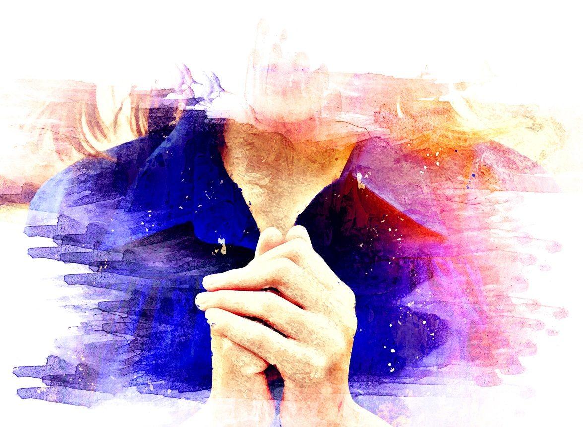 Dessin de mains en prière