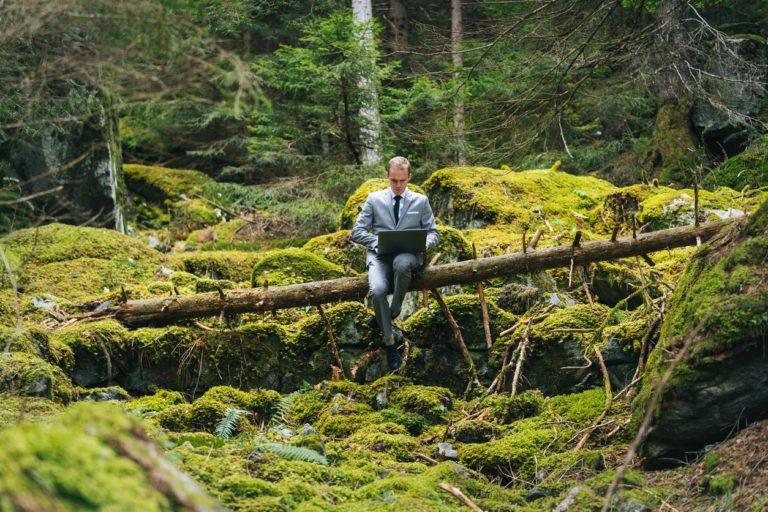 Quel sens pour le travail ? Un homme d'affaires assis sur un tronc d'arbre avec son ordinateur au milieu de la forêt